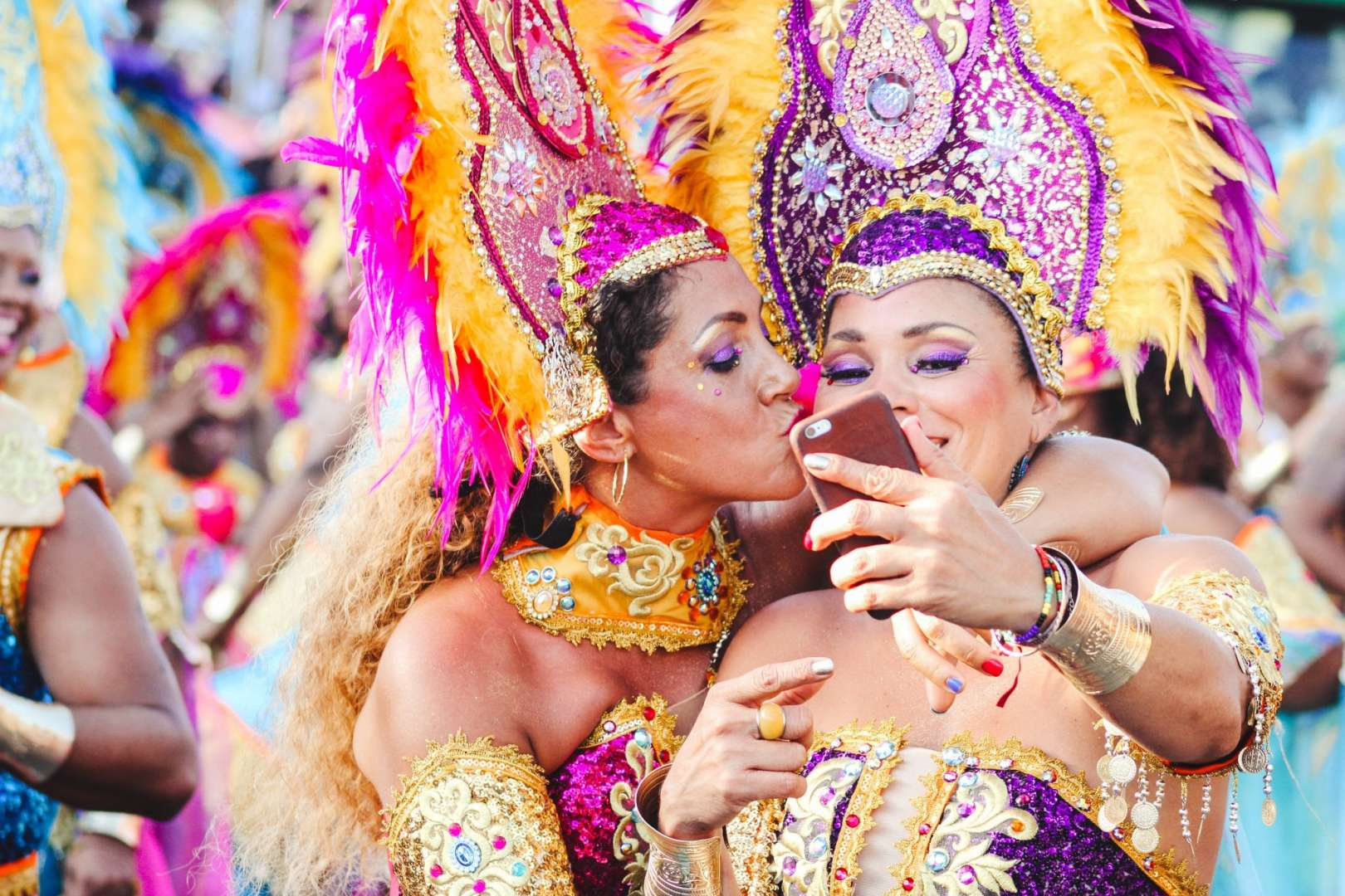 Brazilian Carnival Women Taking a Social Media Selfie For Travel Sites