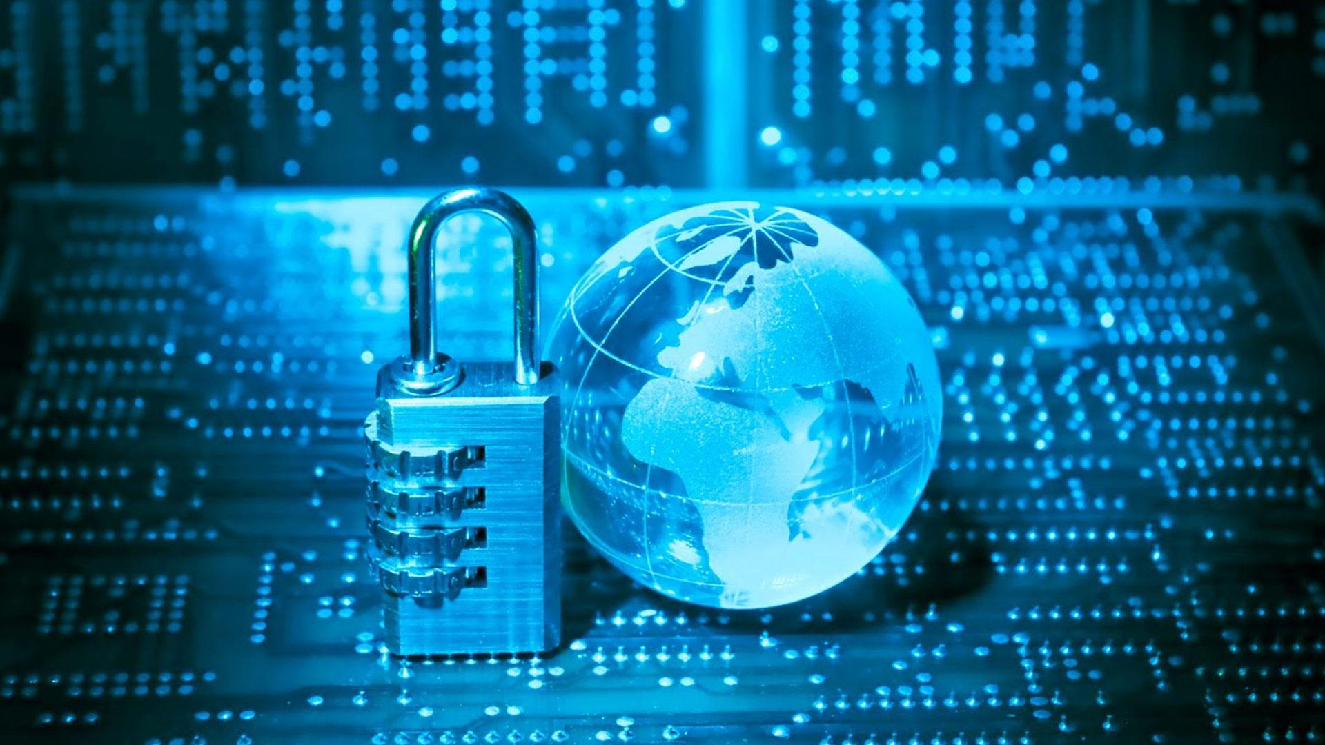 Blue padlock with globe figure