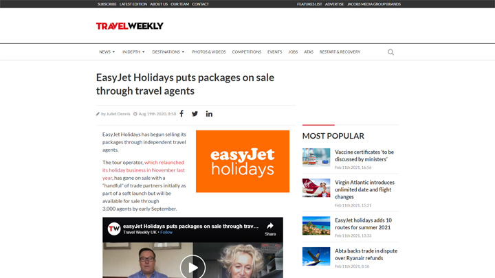 Easyjet Holidays Puts Packages on Sale Through The Trade