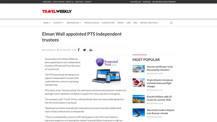Elman Wall Appointed by PTS as Independent Trustees