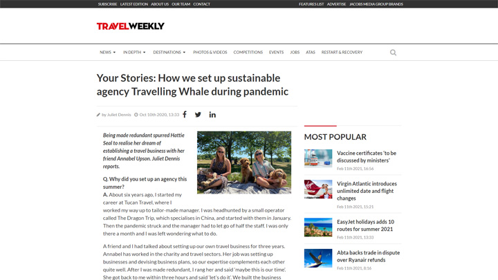 How We Set Up Sustainable Agency Travelling Whale During Pandemic