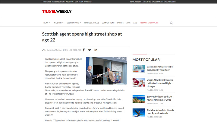 Scottish Agent Opens High Street Shop at 22