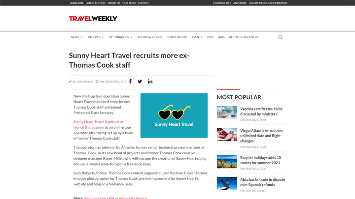 Sunny Heart Travel, PTS Member, Recruits More Ex Thomas Cook Staff