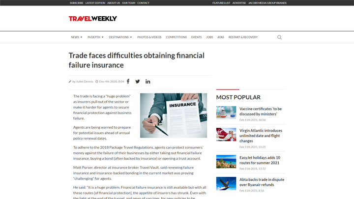 Trade Faces Difficulties Obtaining Financial Failure Insurance