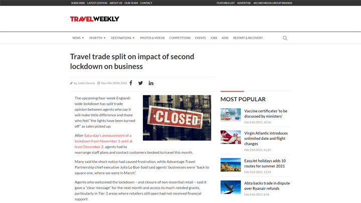 Travel Trade Split on Impact of Second Lockdown on Business