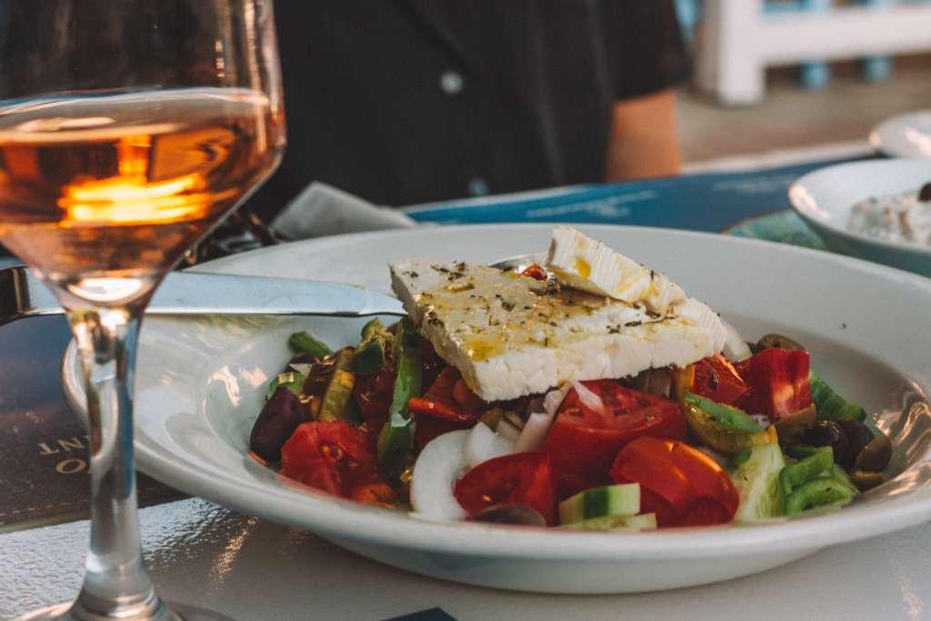 Greek Salad and Rose Wine