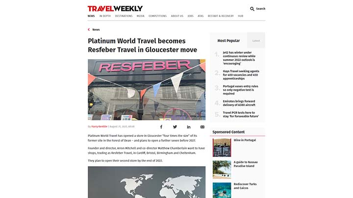 Platinum World Travel Becomes Resfeber Travel In Gloucester Move