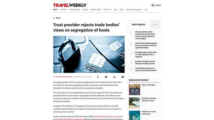 Trust Provider Rejects Trade Bodies' Views On Segregation Of Funds